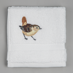 embroidered wren facecloth