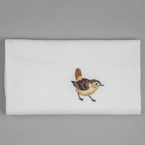 embroidered wren tea towel