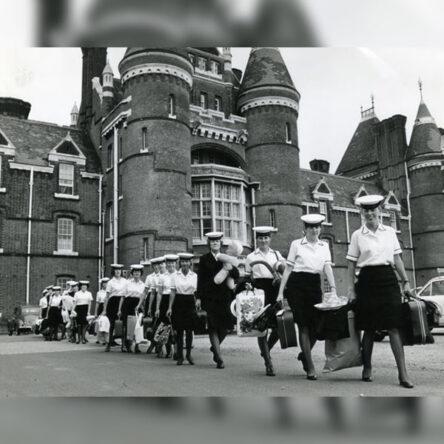 Wrens leaving barracks Portsmouth Naval Home Command. Neg: 1160 25 June 1970. Taken by PO D F Morris.