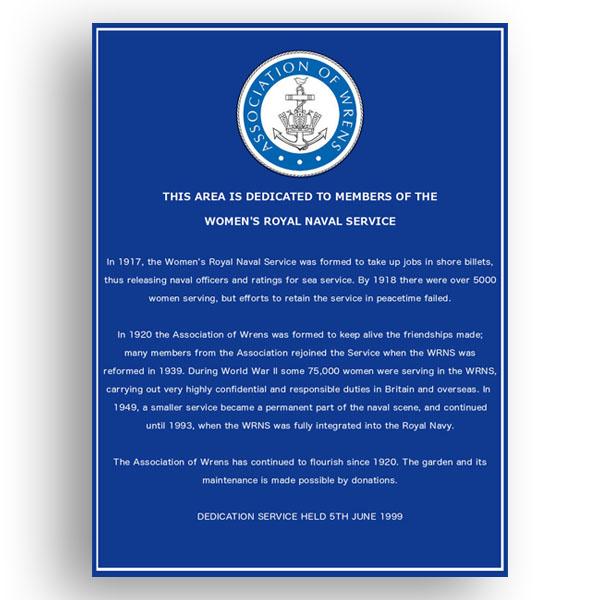 Wrens memorial garden blue plaque