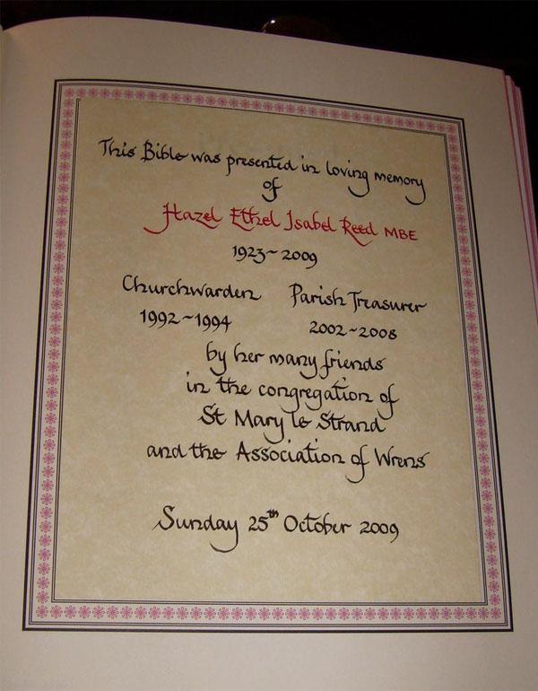 Presentation bible in memory of Miss Hazel Reed MBE