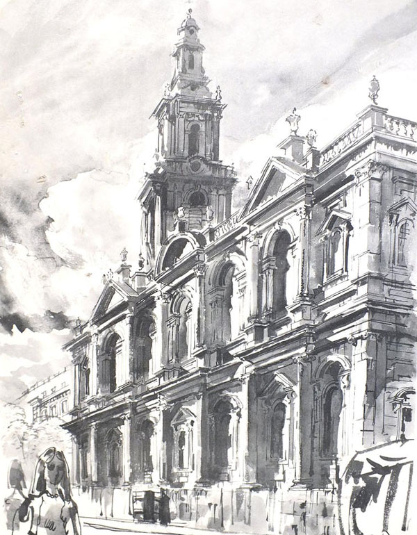 artists sketch of St Mary le Strand